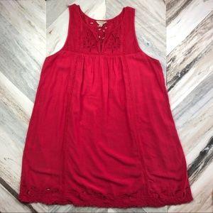 LUCKY BRAND RED EYELET SLEEVELESS BOHO DRESS NWT